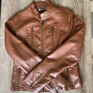 TCEC Tan Faux Leather Jacket with Leopard Lining